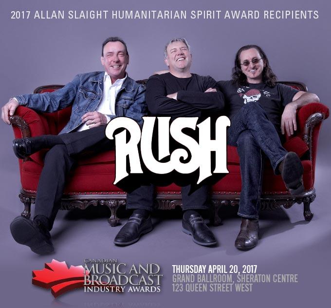 CMW announces RUSH as 2017 Allan Slaight Humanitarian Award Recipients