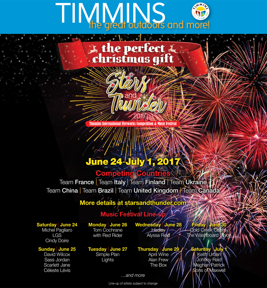 LINEUP ANNOUNCED FOR Stars and Thunder  – TIMMINS INTERNATIONAL FIREWORKS COMPETITION AND MUSIC FESTIVAL