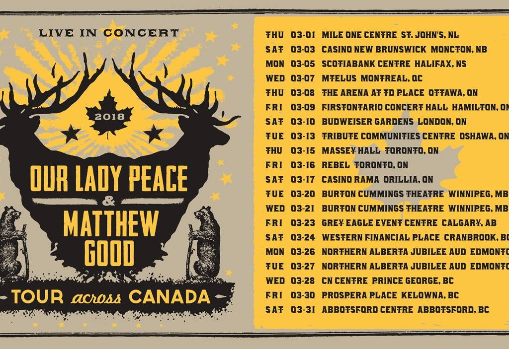 MATTHEW GOOD AND  OUR LADY PEACE ANNOUNCE  CROSS COUNTRY TOUR