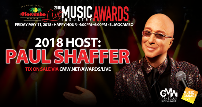 Paul Shaffer is Returning Host of CMW Live Music Industry Awards