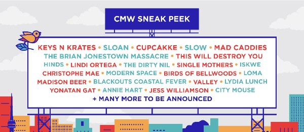 CANADIAN MUSIC WEEK SHARES 2018 SNEAK PEEK FEATURING SLOAN, THIS WILL DESTROY YOU, CUPCAKKE, SLOW, LYDIA LUNCH AND MORE