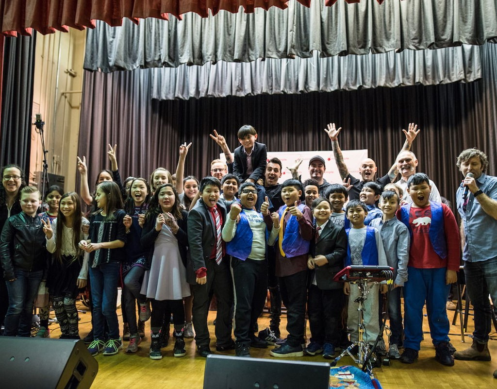 Hedley and MusiCounts Celebrate Band Aid Program At Vancouver School