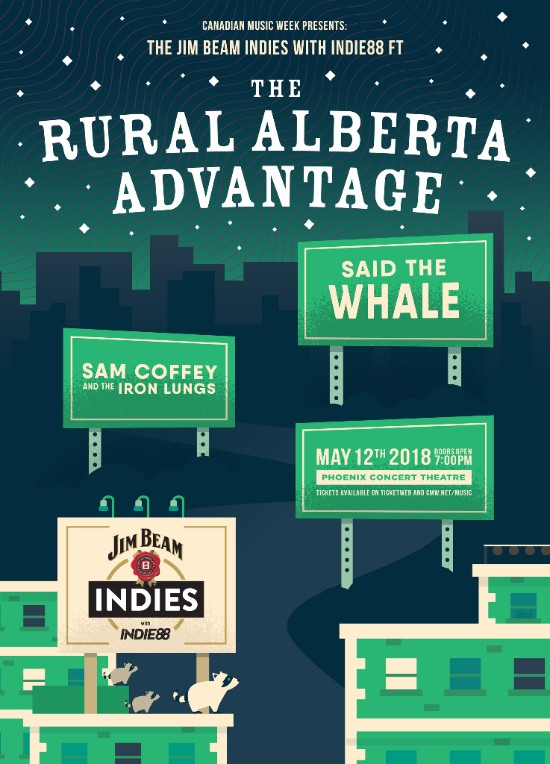 CANADIAN MUSIC WEEK ANNOUNCES THE 2018 JIM BEAM INDIES WITH INDIE88 FEATURING THE RURAL ALBERTA ADVANTAGE AND MORE