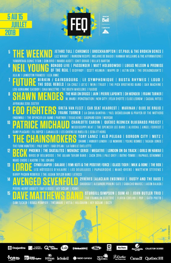 FESTIVAL D'ÉTÉ DE QUÉBEC ANNOUNCES FIRST ROUND OF ACTS FEATURING THE WEEKND, NEIL YOUNG, LORDE, FOO FIGHTERS, CYNDI LAUPER, BECK AND MORE
