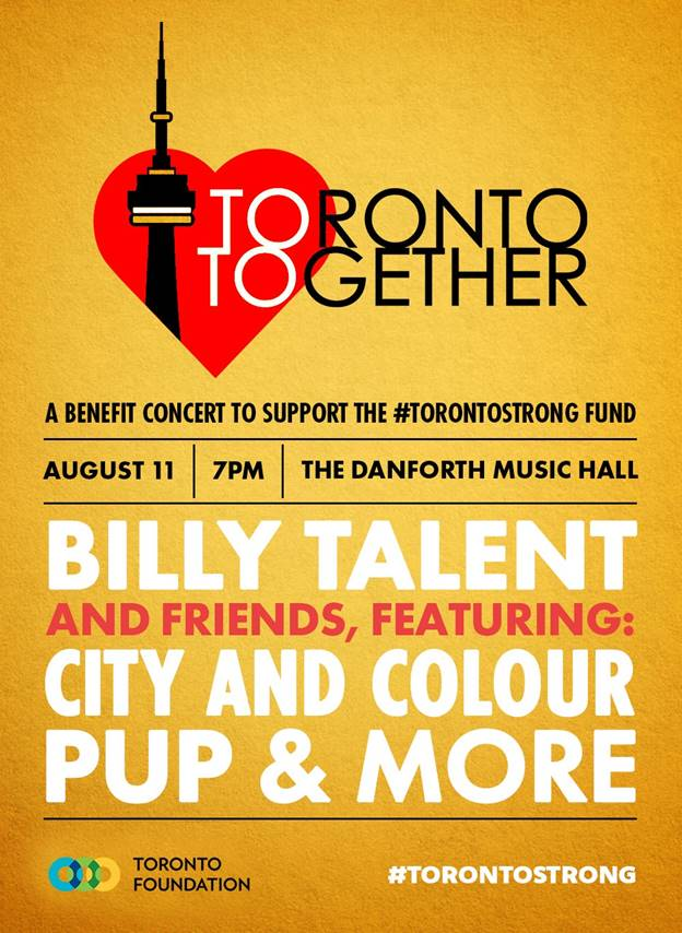 BILLY TALENT AND FRIENDS ANNOUNCE BENEFIT CONCERT FOR VICTIMS OF DANFORTH SHOOTING