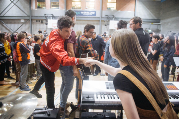 Multi-JUNO Award Winners Arkells Team Up With MusiCounts to Surprise Calgary School