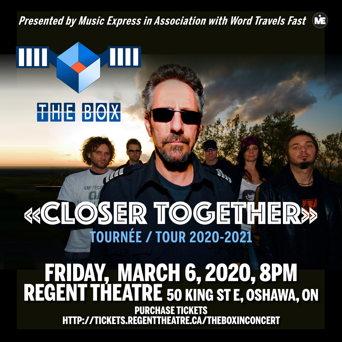 The Box perform at the historic Regent Theatre, Oshawa – Friday, March 6, 2020  8:00 PM