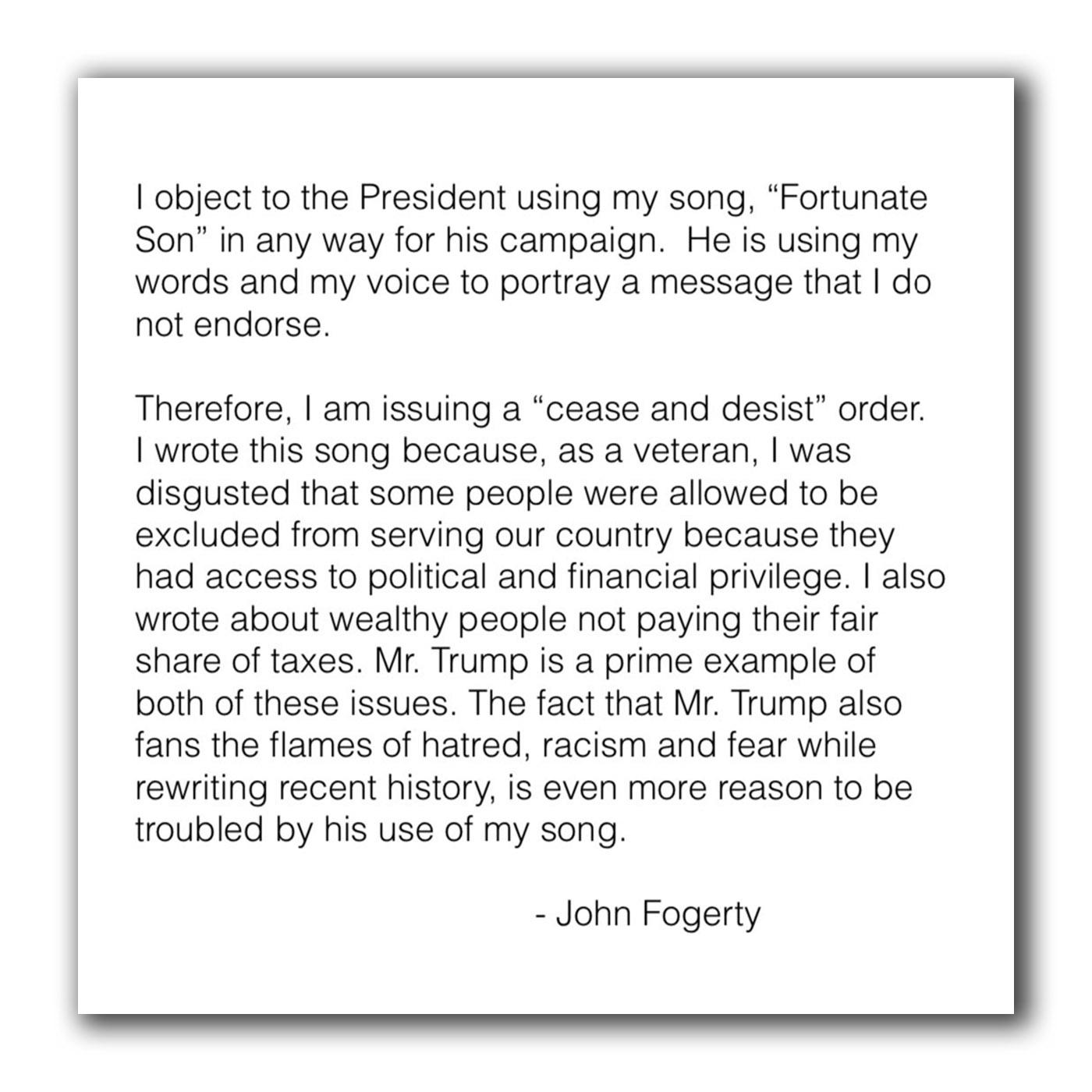 John Fogerty Letter Cease and Desist