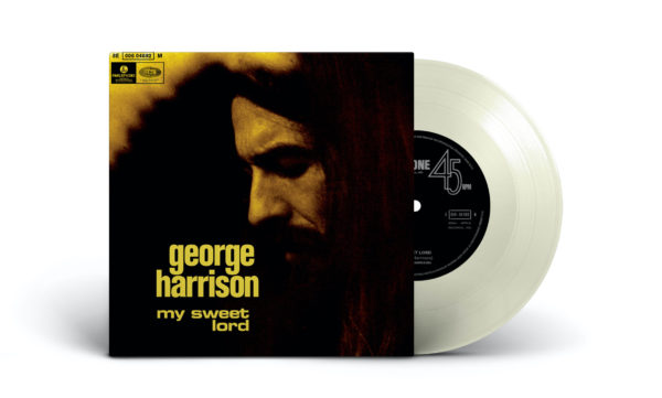 "A limited edition clear vinyl 7″ of George's hit single, ""My Sweet Lord"""