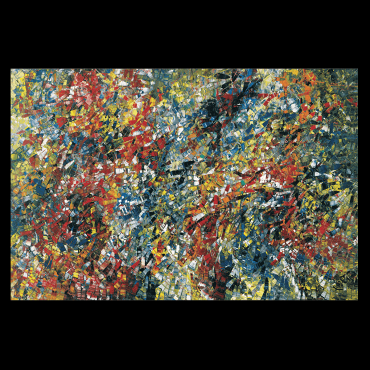 Harmonium - Histoiries sans paroles Covey by: Jean Paul Riopelle, Le Jacob-Chatou , 1954 / Oil on canvas , 200.6 x 300 cm © Succession Jean Paul Riopelle / SOCAN (2020)