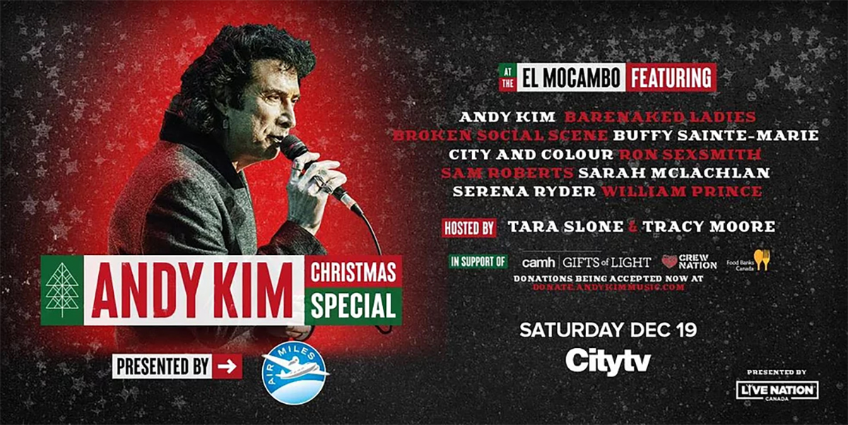 16th Annual ANDY KIM Christmas is going National on December 19