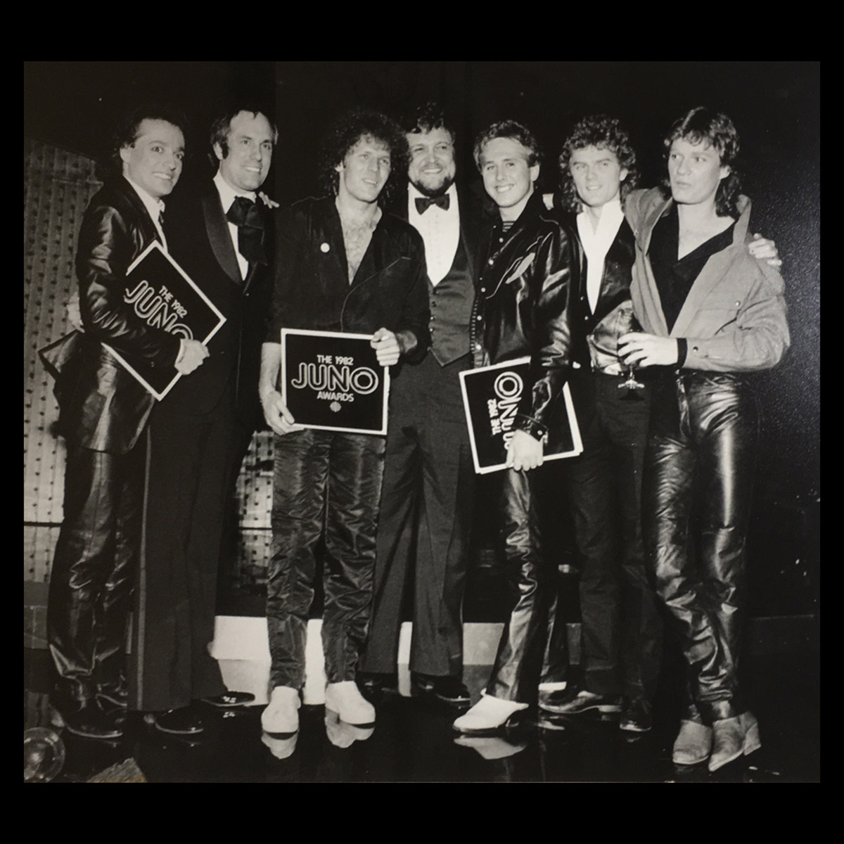 Here he is with us at the 1982 Junos – Left to right- Matt Frenette, Bruce Allen, Paul Dean, Lou Blair, Mike Reno, Doug Johnson and Scott Smith.