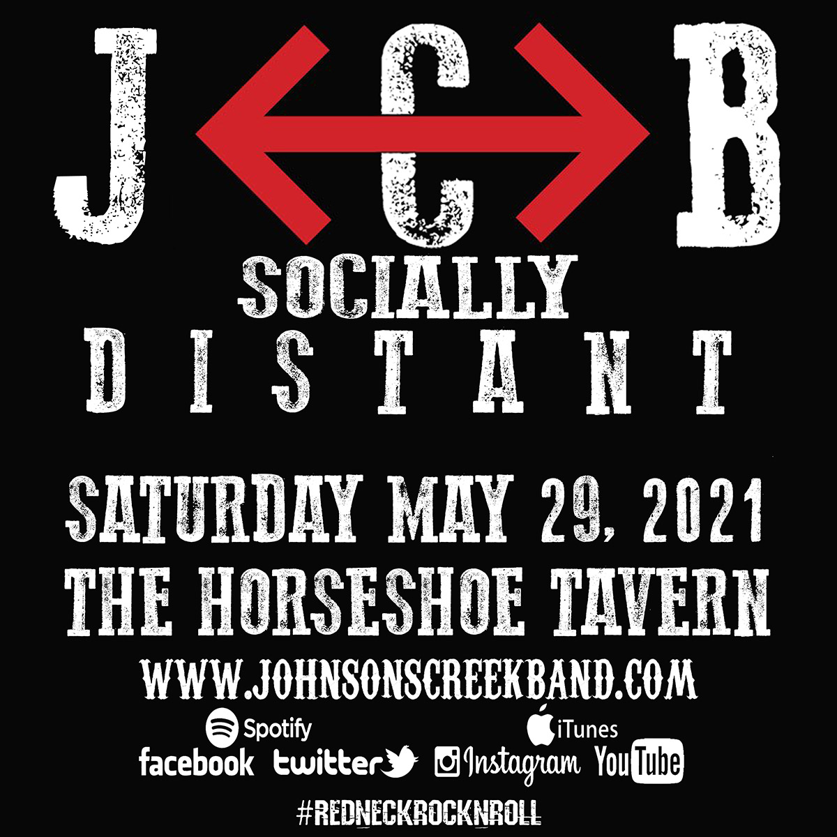 JCB Johnson's Creek Reserved Tickets for Social Distance seating at The Horseshoe Tavern Doors 6:30PM 2 Sets -7:15PM & 8:45PM