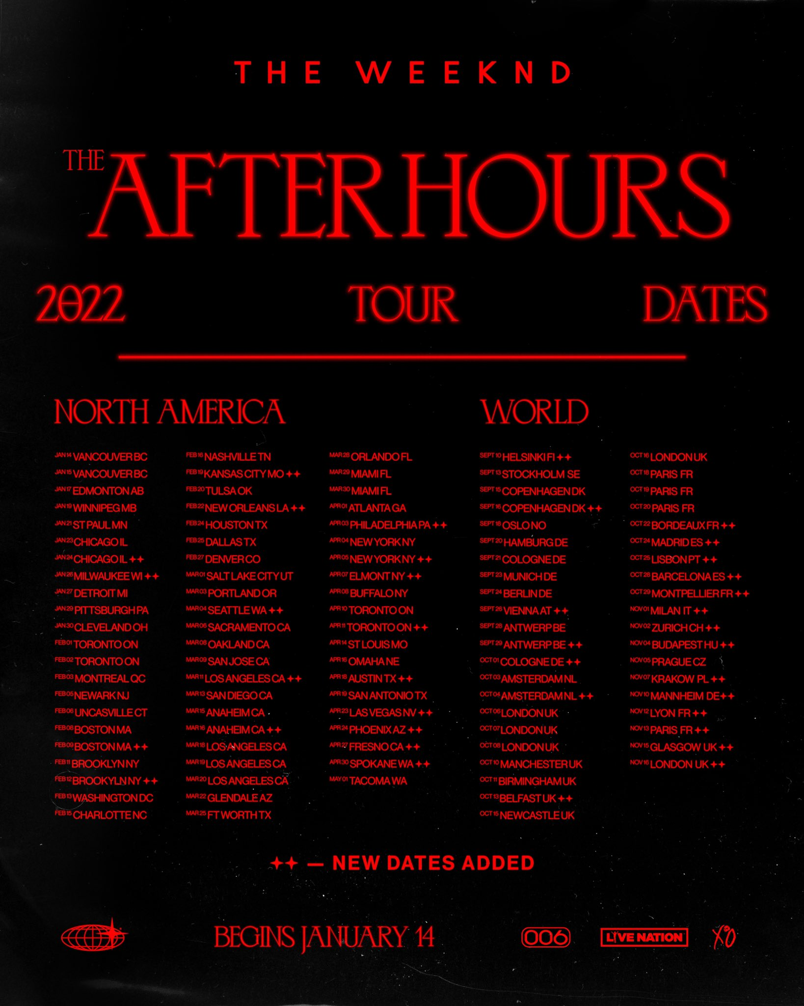 The Weeknd After Hours Tour 2022 New Dates