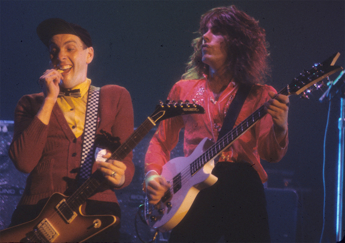 CheapTrick 1977 Rick Nielsen and Tom Petersson performing in in New Haven, CT 1977 By CLender CC BY-SA 3.0