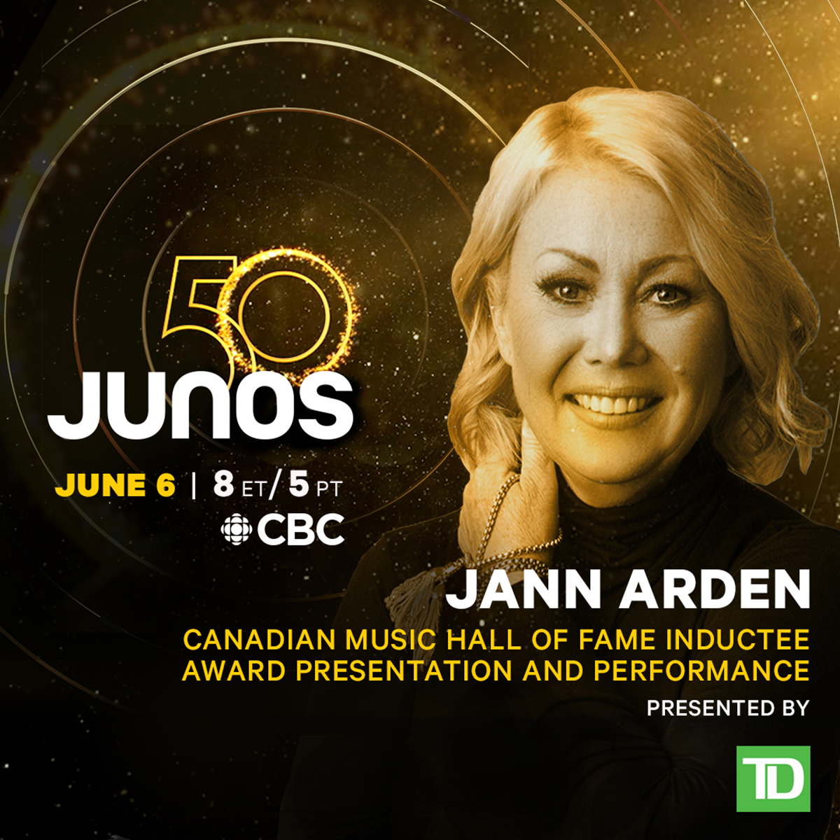 Jann Arden to perform from The Canadian Music Hall of Fame at The 2021 JUNO Awards on CBC