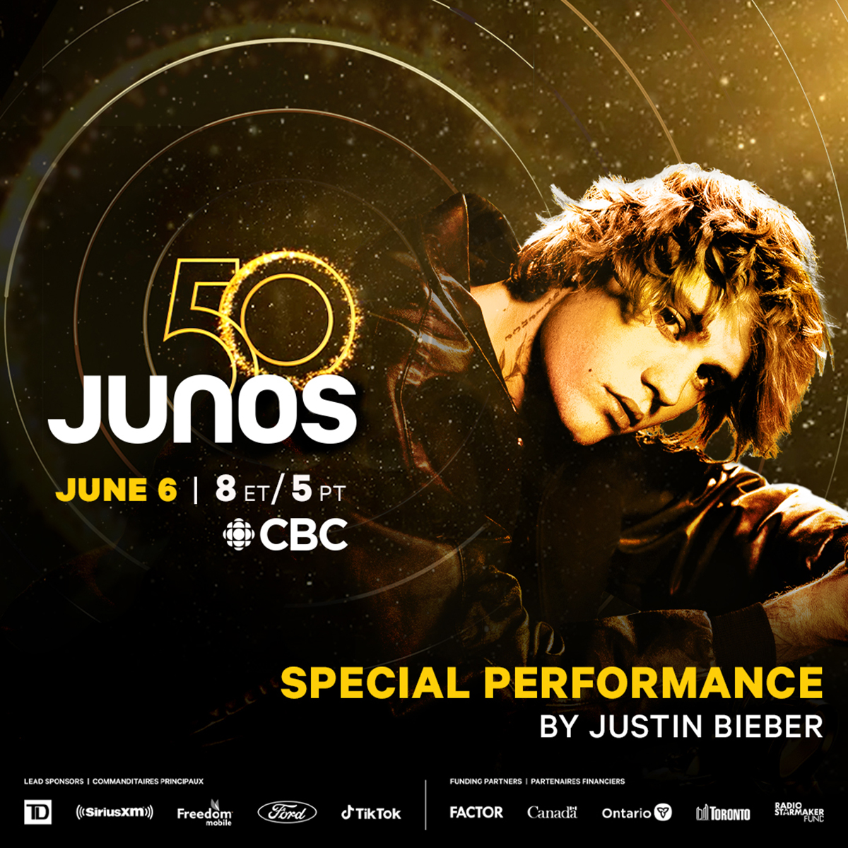 Justin Bieber to perform at The 50th Annual JUNO Awards Broadcast on CBC