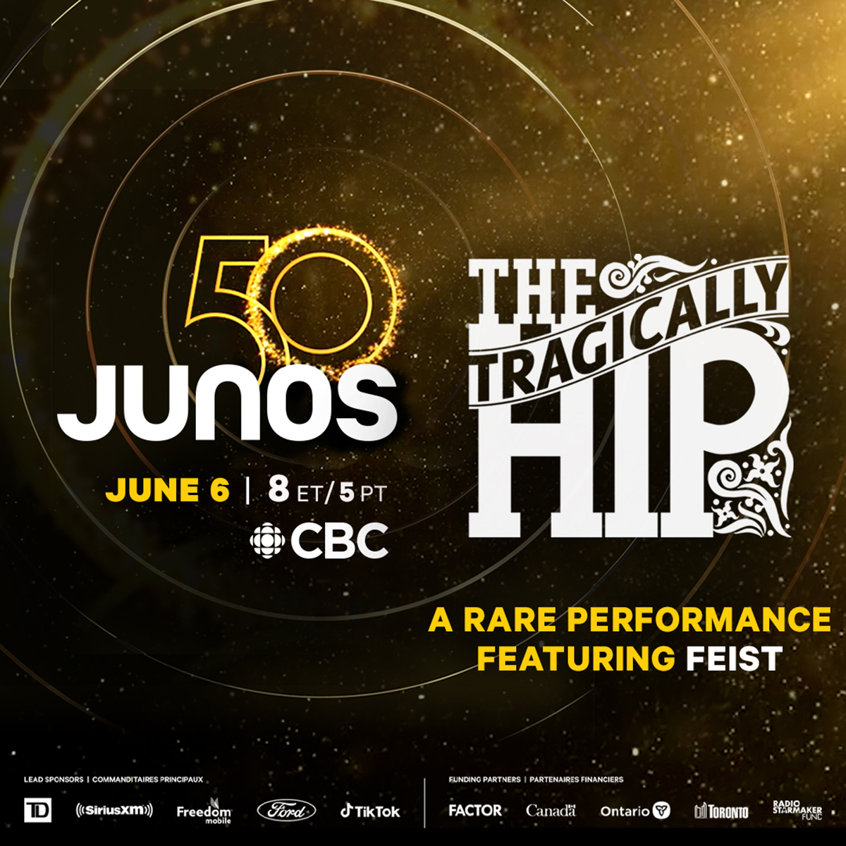 The Tragically Hip set to perform with Feist at The 50th Annual JUNO Awards on CBC