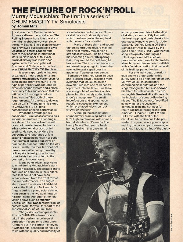 Roman Mitz - Open Spaces - 1978 First Story published and Murray McLauchlan first artist to have a Toronto simulcast
