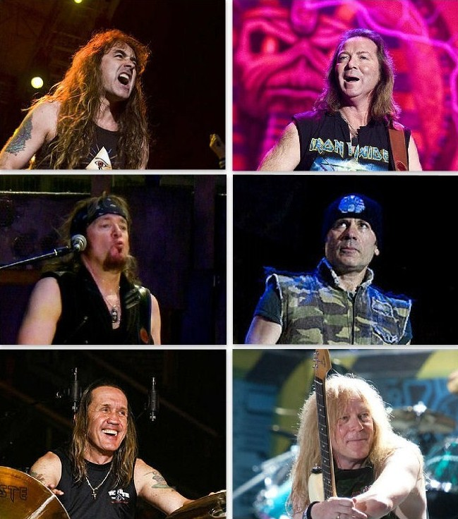 Iron Maiden Band Top: Steve Harris (L), Dave Murray (R) Middle: Adrian Smith (L), Bruce Dickinson (R) Bottom: Nicko McBrain (L), Janick Gers (R) CC BY-SA 2.0