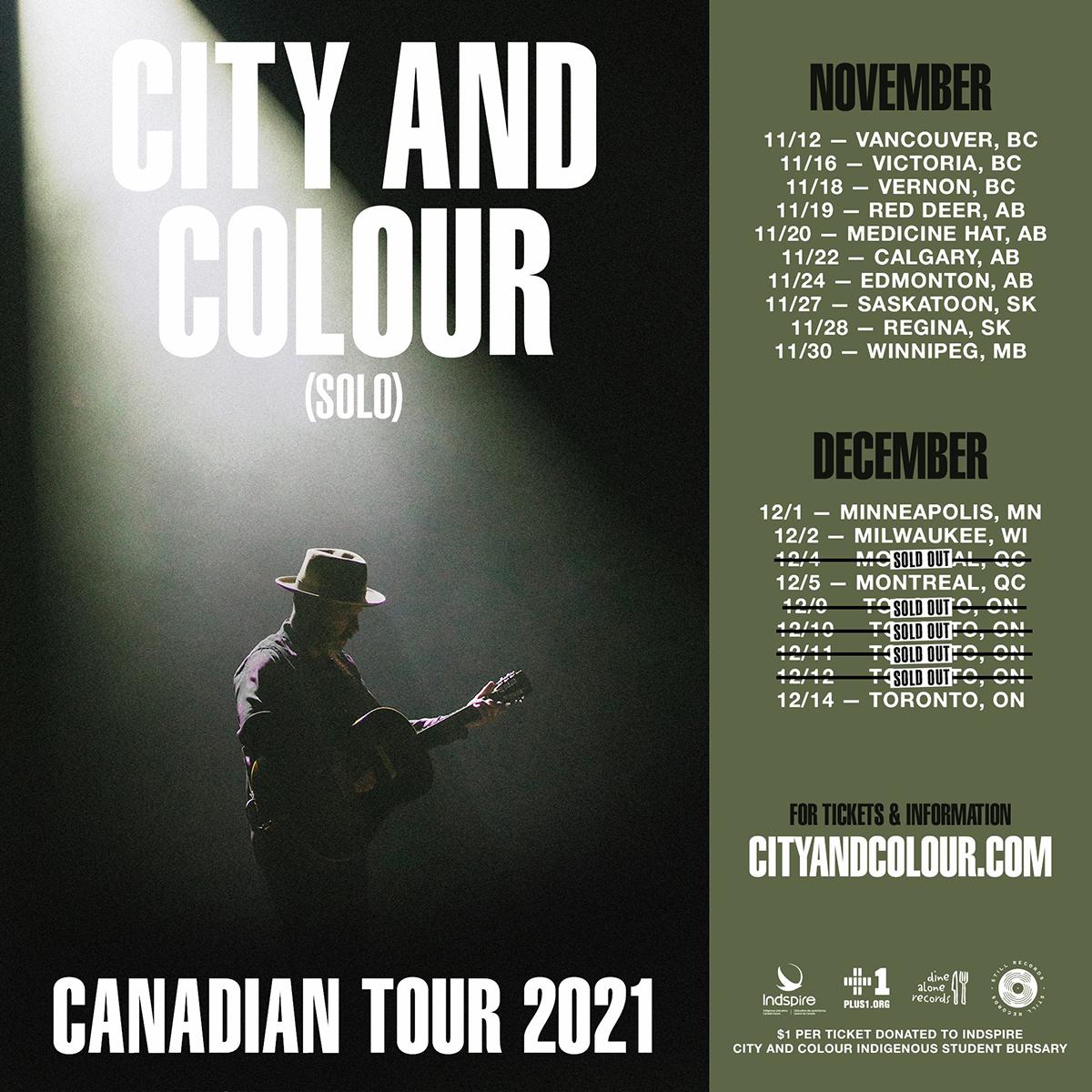 City And Colour Solo - Tour Dates