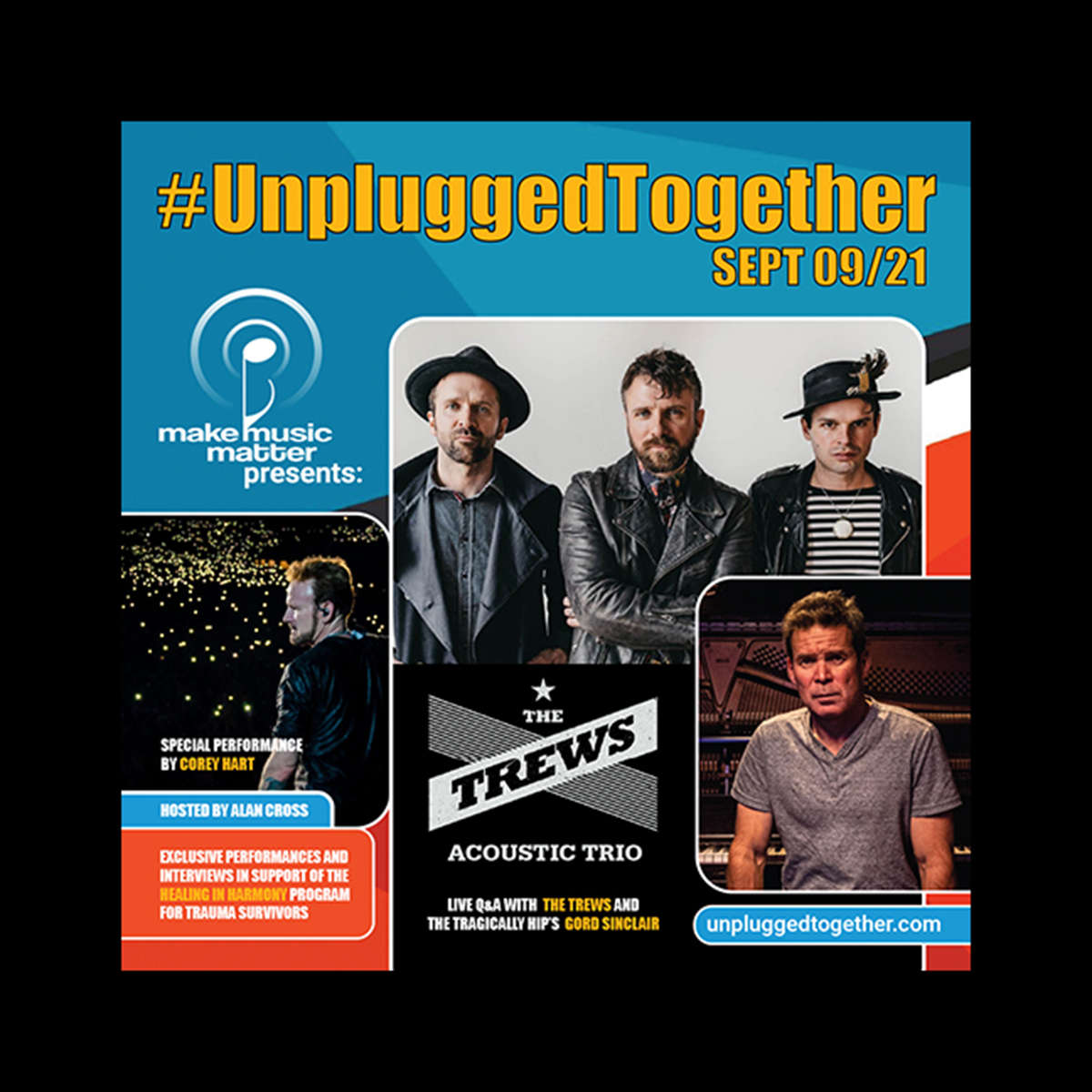 The Trews Acoustic Trio, Corey Hart & The Tragically Hip's Gord Sinclair Join Canadian Non-Profit Make Music Matter's September 9th Exclusive Event, #UnpluggedTogether